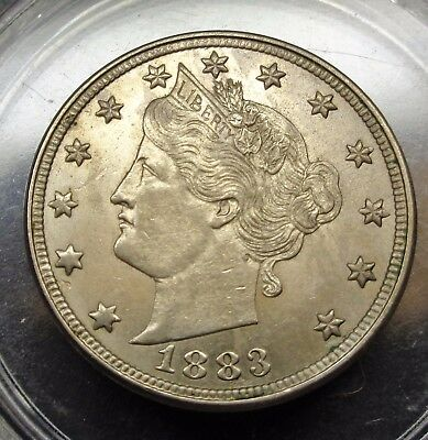 Lustrous Choice uncirculated 1883 NC Liberty head V nickel 5C nickle type coin