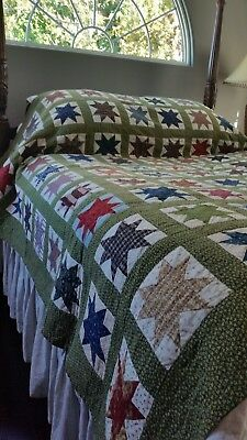 "Vintage Quilt...Star....Hand Stitched.... ""AWSOME"" 90X90 LARGE"