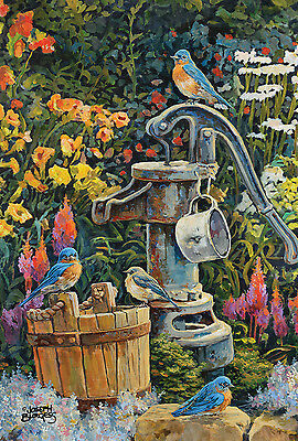 NEW TOLAND GARDEN FLAG EASTERN BLUEBIRDS AT WATER WELL 12.5 x 18  MADE IN USA