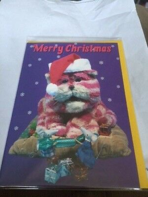 BN Merry Christmas Bagpuss with the mice pulling a cracker Card