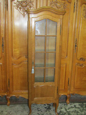 French Louis xv style vintage oak vitrine,cabinet,with shelves,bookcase,display