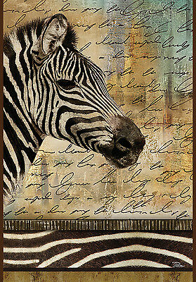 NEW TOLAND GARDEN FLAG THE HAND PAINTED ZEBRA  - BEAUTIFUL  FLAG!  12.5 x 18