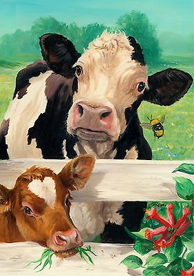 New Large Toland Flag Farm Buddies Cow & Calf Beautiful 28 X 40 Made In The Usa