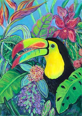 New Large Toland Flag Keel Billed Toucan Beautiful 28 X 40 Made In The Usa