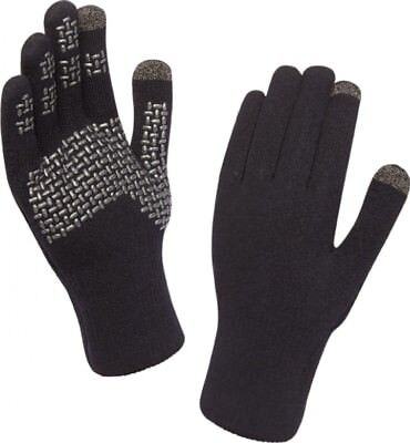 (X Large, Black Silver) - Sealskinz Ultra Grip Touchscreen Glove. Free Shipping