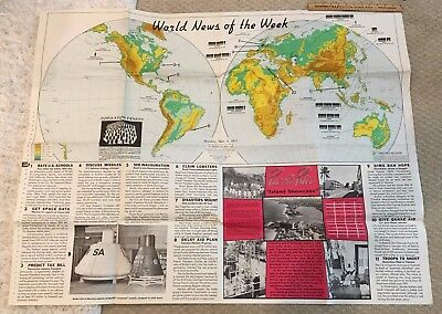 World News of the Week Map Vol 25 No. 28 March 1963 Approx 4 x 3 ft. Vintage