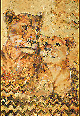 """NEW LARGE TOLAND FLAG THE HAND PAINTED  LIONESS & LION CUB - BEAUTIFUL 28"""" x 40"""""""