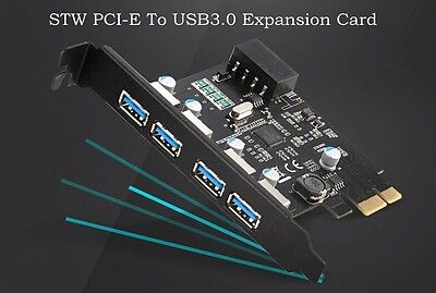 5Gbps PCI-E Card to 4 Port USB 3.0 PCI Express Expansion Card Adapter Desktop PC