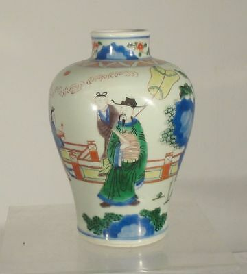 Antique Chinese Wucai Enamel Meiping Vase Famille Verte Transitional