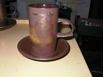 Purbeck Pottery Medieval Greek Myths Coffee Mug / Cup & Saucer Sword Fighting