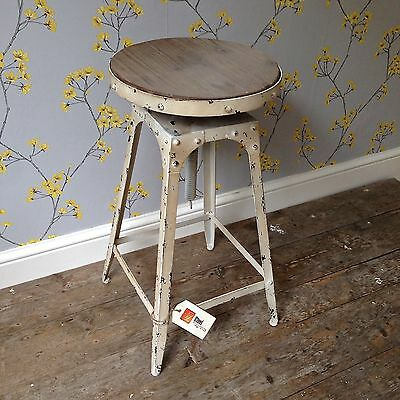 Café style adjustable Stool artisan shabby chic Antique White colour