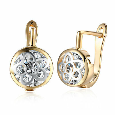 Women 18K Gold Plated Hollow Flower Crystal Earrings Ear Buckle Hoop Huggie