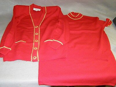 St John Collection by Marie Gray 3 Piece Santana Knit Red Skirt Suit Set Size S