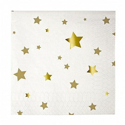 Meri Meri Toot Sweet Gold Stars Small Party Napkins. Shipping Included