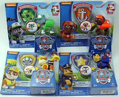 Paw Patrol Action Pack Pup & Badge Set of 4 - Rocky, Zuma, Chase & Rubble