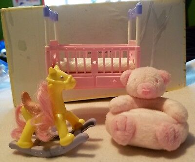 Happy family baby accessories crib, bear chair, rocking horse