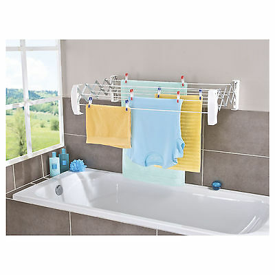 Teleclip Wall Mount Clothes Airer Dryer Washing Line Laundry 60 Extendable Dryer