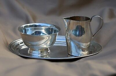 Rogers Sterling Silver Paul Revere Reproduction Sugar Bowl  Creamer & Tray 0378