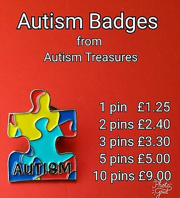 1 Autism Awareness Pin Badge Colourful Jigsaw Puzzle Teacher Gift Autistic