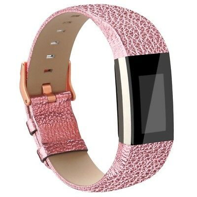 (Rose Gold) - AK Fitbit Charge 2 Leather Band, Replacement Luxury Genuine