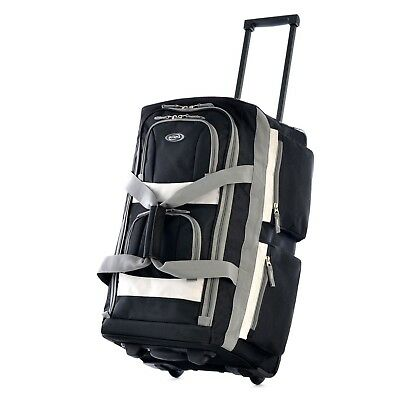 Black Carry On Duffel Bag, Lightweight, Rolling, Sport Bag, Polyester Material