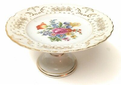 "Lovely Multi  Floral Compote Cake Plate with reticulated foot Japan 3.75"" tall"