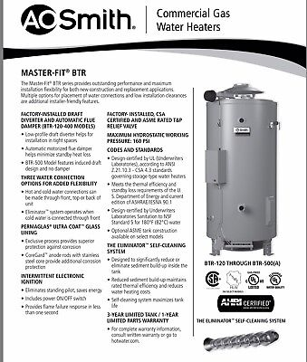 Ao Smith Btr-199Lp Master-Fit Propane Water Heater - Authorized Distributor