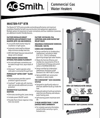 Ao Smith Btr-120 Master-Fit Natural Gaswater Heater - Authorized Distributor