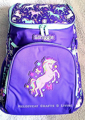 "New! Smiggle ""spark"" Access Backpack School Bag Purple - Unicorns"