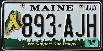 """MAINE """" SUPPORT OUR TROOPS """" 893 AJH """" 2012 ME Specialty License Plate"""
