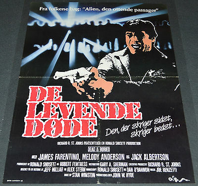 DEAD AND BURIED 1986 ORIGINAL 24x33 DANISH MOVIE POSTER! JAMES FARENTINO HORROR!