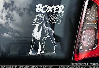 Boxer Dog - Car Window Sticker - Dog Sign -V02