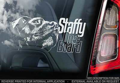 Staffy - Car Window Sticker - Staffordshire Bull Terrier -Staffie Dog Sign - V05