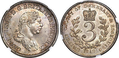 GUYANA. 1816 AR 3 Guilder. NGC MS63. KM 15 Very rare in this quality