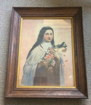 Vintage Antique  Large Oak Frame With Religious Painting Image