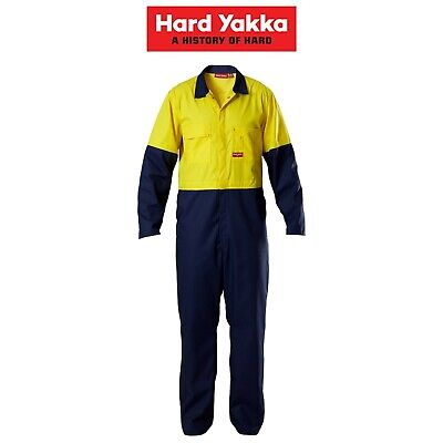 Mens Hard Yakka Safe Tough 2 Tone Coverall Overalls Protect Safety Work Y00445
