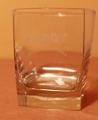 Paddy Old Irish Whiskey Collectible Square Tumbler Glass 8.25cm Spirit VGC