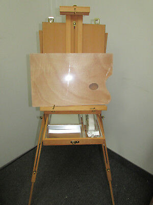 Deluxe Artist French Box Easel Beechwood with METAL DIVIDER & Wooden Palette