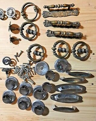Mixed Lot 28+ Vintage Metal Drawer Cabinet Dresser Door Pulls~Handles