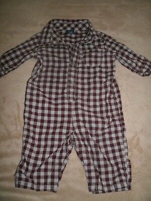 Baby Gap Boys Flannel Checkered One Piece Size 3-6 Months Red