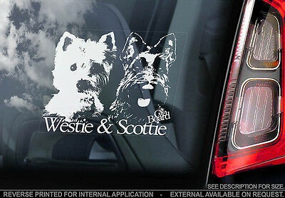 Westie & Scottie on Board - Car Window Sticker - Dog Sign -V01