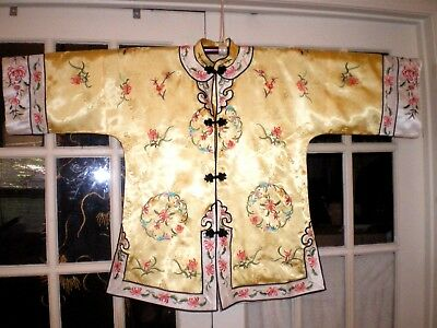 Chinese Yellow Silk Damask Embroidered Robe/Jacket w/Chrysanthemums Flowers More
