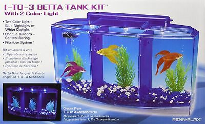 Penn Plax 1-to-3 Betta Tank Kit With 2 Color Light Holds 3 Bettas Safely in 1