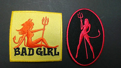 1 + 1 pc - BAD GIRL + SHE DEVIL BIKER EMB. PATCHES IRON/SEW-ON