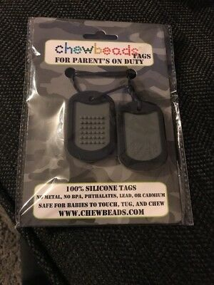 Chewbeads Dog Tags Adult For Parents On Duty Black Baby Toy Silicone Teething