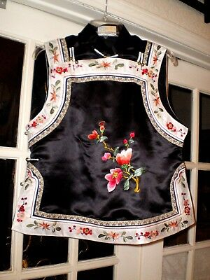 Old Chinese Black & White Silk Embroidered Vest/Robe w/Brass Round Buttons
