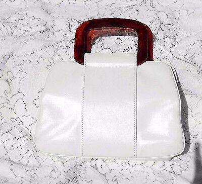 VINTAGE 1960's WHITE LEATHER PURSE WITH BROWN LUCITE HANDLES