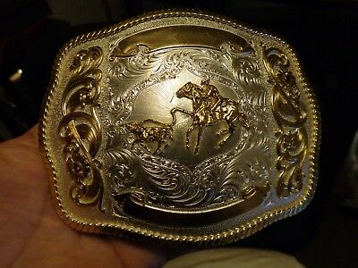 LARGE Western Cowboy Roping Cow Nickel/silver Belt Buckle by Montana Silversmith