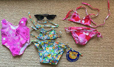 BEAR FACTORY 2 pairs of bikinis & pink one piece swimmers for teddy bear or doll