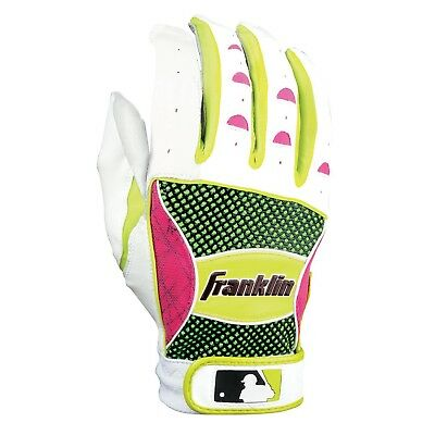 (Youth Large, White/Neon Pink/Optic Yellow) - Franklin Sports MLB Shok-Sorb
